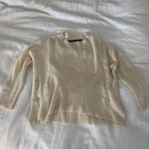 Enza Costa cashmere/wool cream distressed sweater
